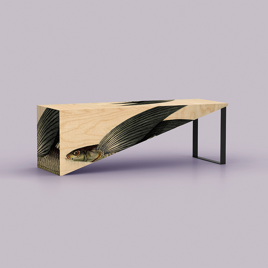 Flying fish has become my new obsession in the recent months after I had an opportunity to observe a school from the cruise ship last March. They were swimming alongside the ship for hours - while being hunted by a group of frigatebirds. Nowadays it is an added pleasure to play with their form and shape over my newly designed furniture pieces. Here is a bar table. It is long, it is oversized, and it is called 'No Doubt'.
