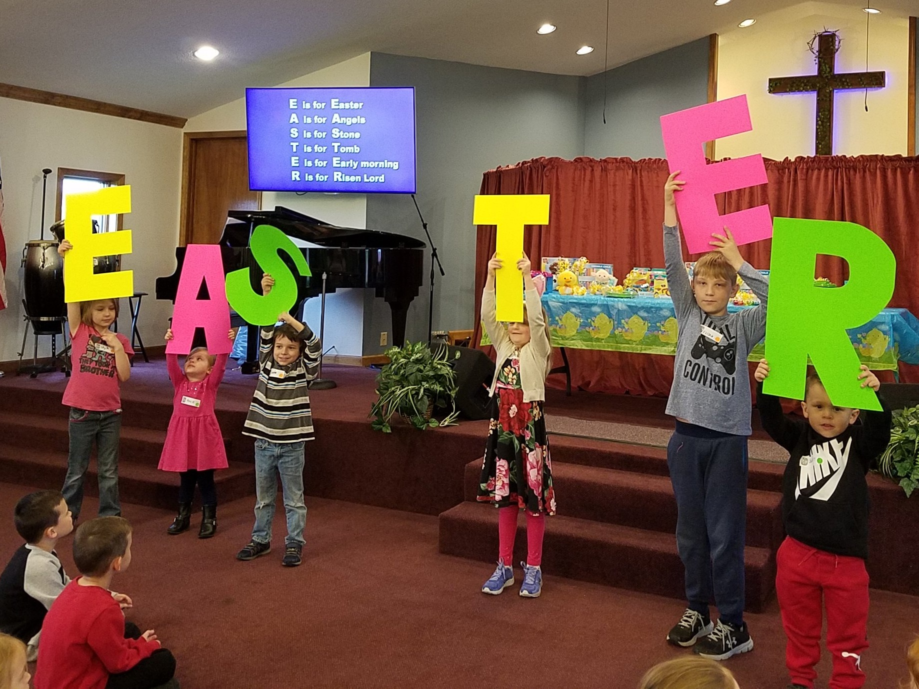 Easter Celebration 2019 - We had a great time at the Easter Celebration & Egg Hunt, even with the rain! We had 71 kids, and lots of parents, too. It was fun to share the real reason for Easter … JESUS!