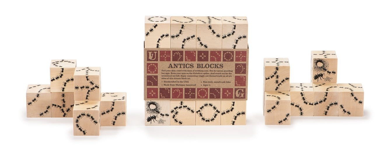 These  durable blocks from Uncle Goose  are a favourite in my house. They can be used for building and stacking, or you can line them up to make twisting, turning ant trails, and hunt for the Queen and the spider. They are made in the USA from sustainable wood sources, so you can feel good about your gift, too!