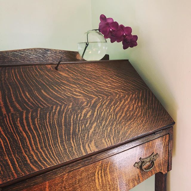 That tiger maple though!!!!! So so happy I finally found this beautiful old secretary desk for my home. I'm celebrating my 4-year business anniversary with its purchase. What better symbol could I have found for a badass lady getting shit done at home? 👈 That's me. I realized this year: I am living the life I always imagined for myself when I was a teenager dreaming of a career of creativity, autonomy, and beauty. #happythankyoumoreplease