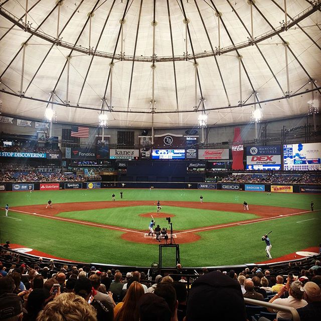 Did you know the sport they play in Moneyball is based on a real sport and it is called 'baseball'? Well here I am at the 'baseball'. There were genuine stingrays in big tanks at this game because the nickname of the team I saw was 'The Rays'. Think about that for a few moments.  Cheers.  #tampabayrays #mlb #bradpitt #thinkaboutit