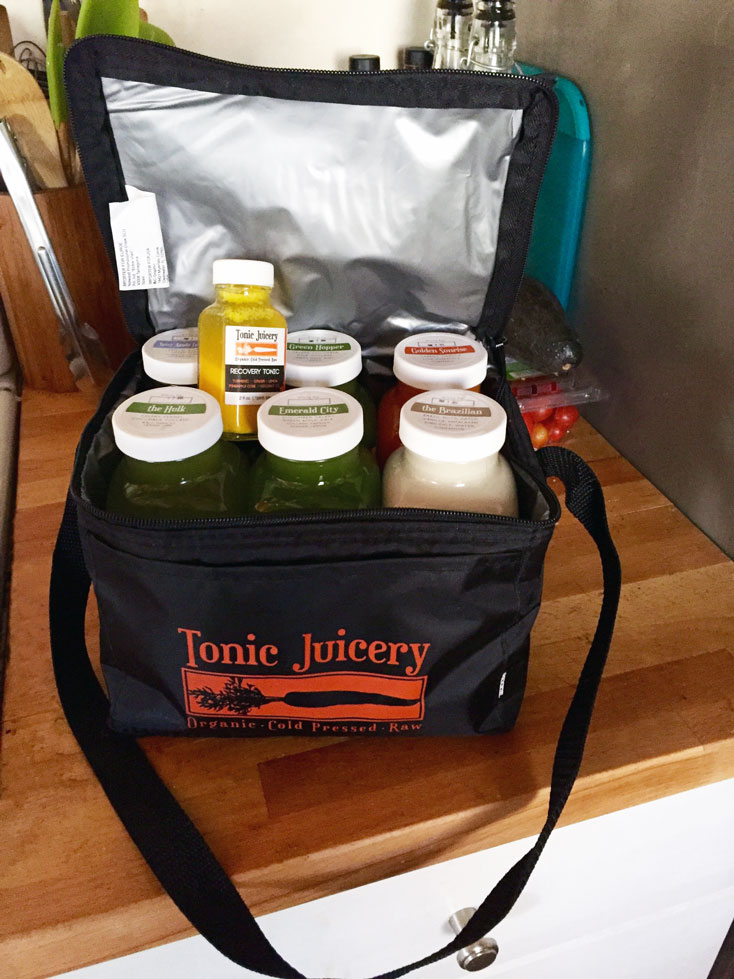 Cleanse Day 1 lookin' good and stayin' cool in it's Tonic Juicery cooler!