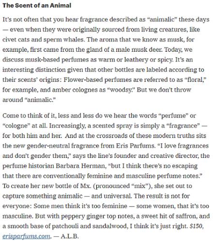 ERIS PARFUMS Mx. Eau de Parfum featured in New York Times T Magazine online (September 8, 2017)
