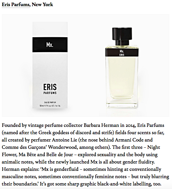 ERIS PARFUMS Mx. Eau de Parfum featured in WALLPAPER Magazine October 2017