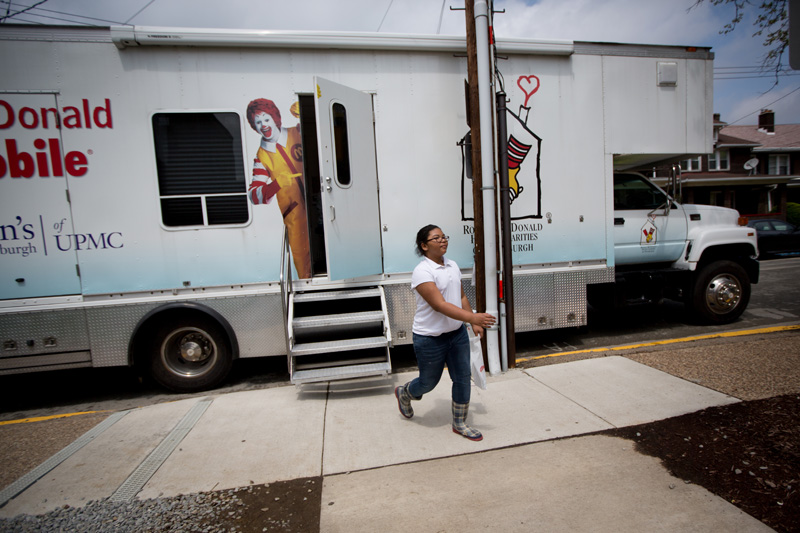 Kirkland heads back to her school in Swissvale after her check up. The Care Mobile travels to underserved areas to make sure at-risk patients are seen.  © Annie O'Neill/TDW 2015