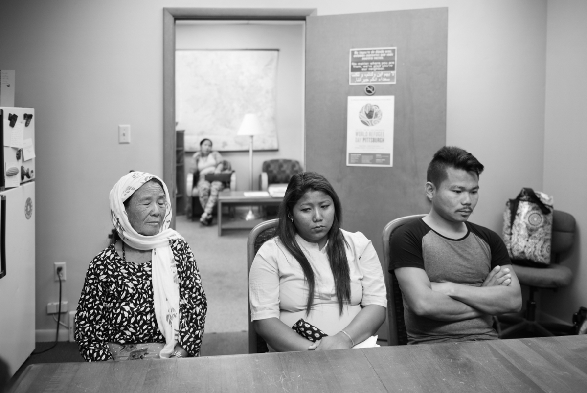 The family visits the refugee center they are working with in Sharpsburg— thirty-six hours after entering the U.S.  © Scott Goldsmith/TDW 2017