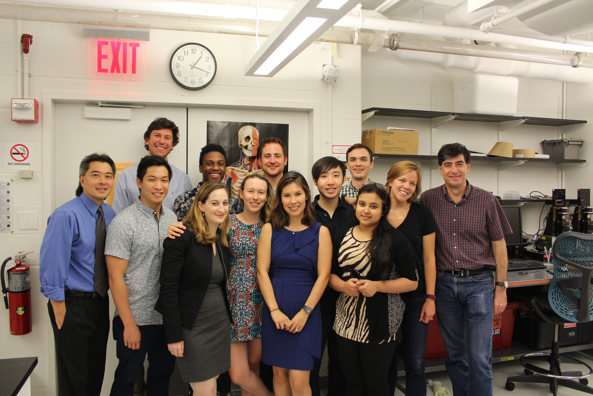 CEL lab members celebrating Amy's defense (left to right): Clark Hung, Charlie Cai, Colden Lyons, Lance Murphy, Amy Silverstein, Evie Sobczak, Rob Stefani, Andrea Tan, Will Yu, Eben Estell, Saiti Holder, Krista Durney, Gerard Ateshian