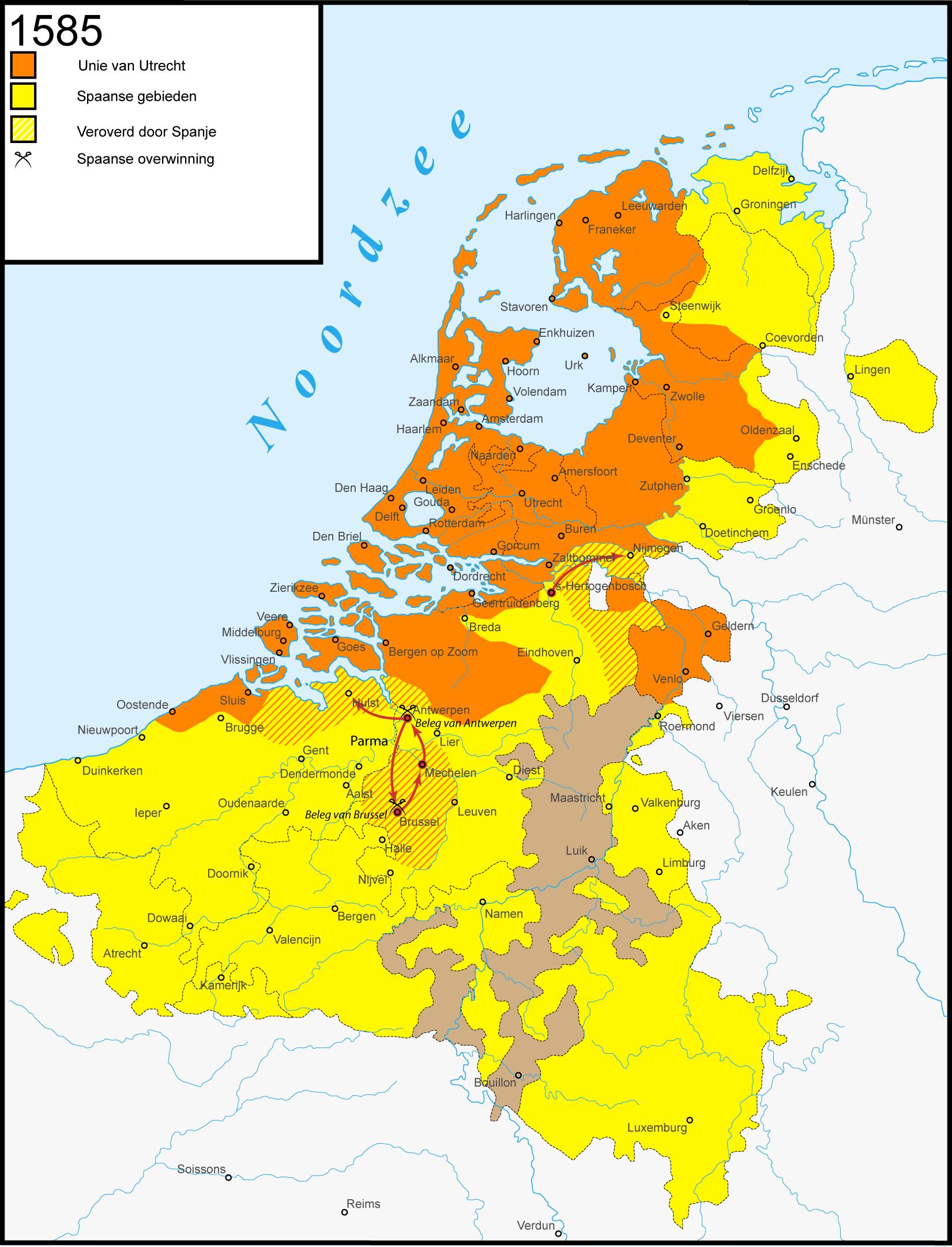 Dutch Republic Map, 1585