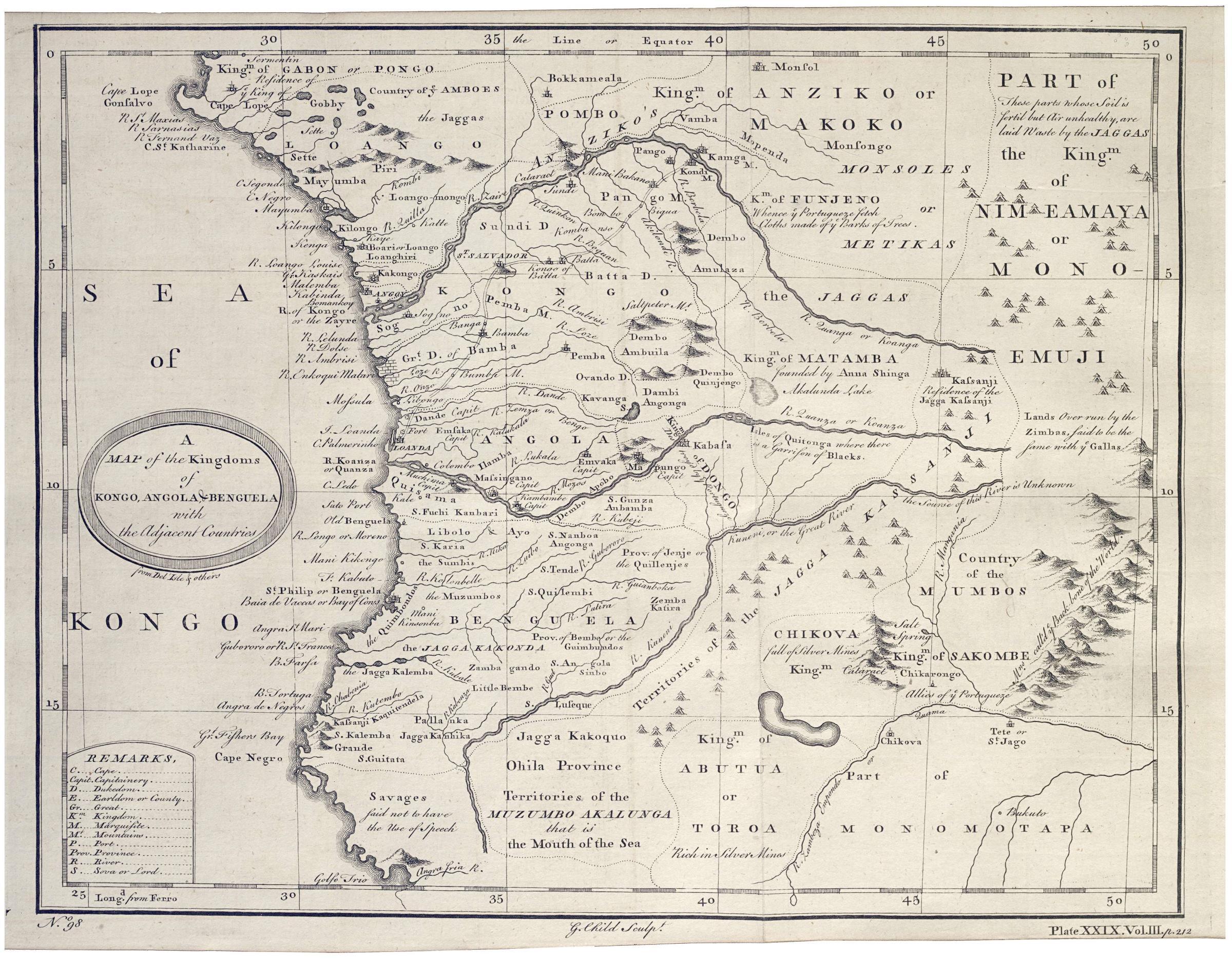 Map of Angola Kongo and Benguela, 1740s