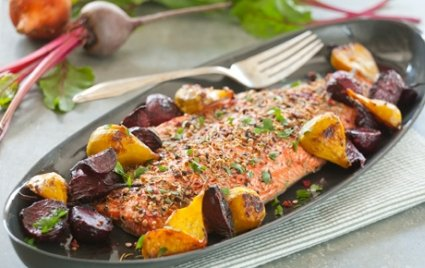 Spice Crusted Roast Salmon with Ginger Beets. Found on Whole Foods Market Website