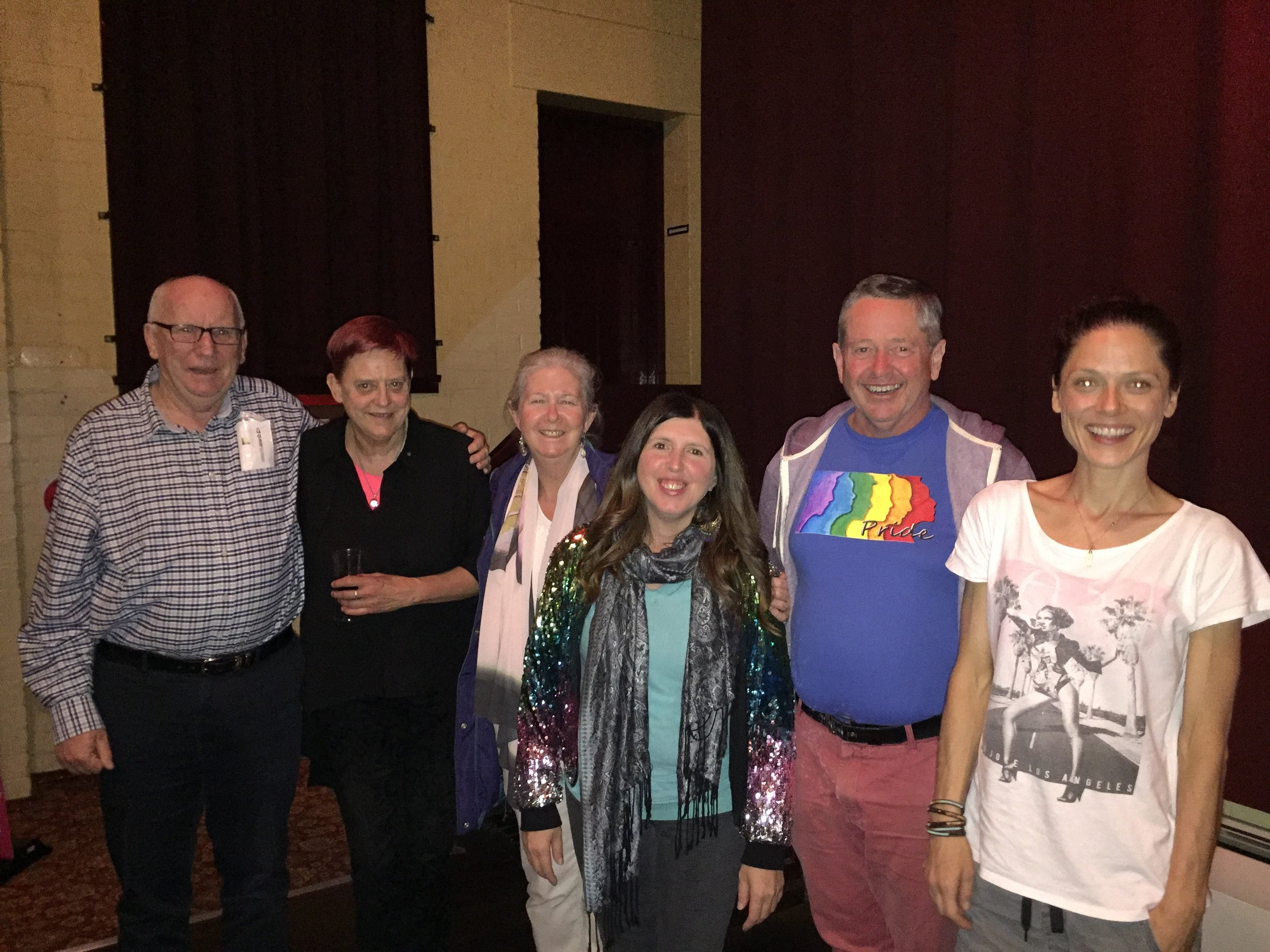 From left, Ron(PFLAG), Jo(Pink Mountains), Ruth(me), Tiphanee (Queer Screen organiser), Malcolm (Australian Marriage Equality), Kylie(friend).  from Ruth Green PFLAG Vice President