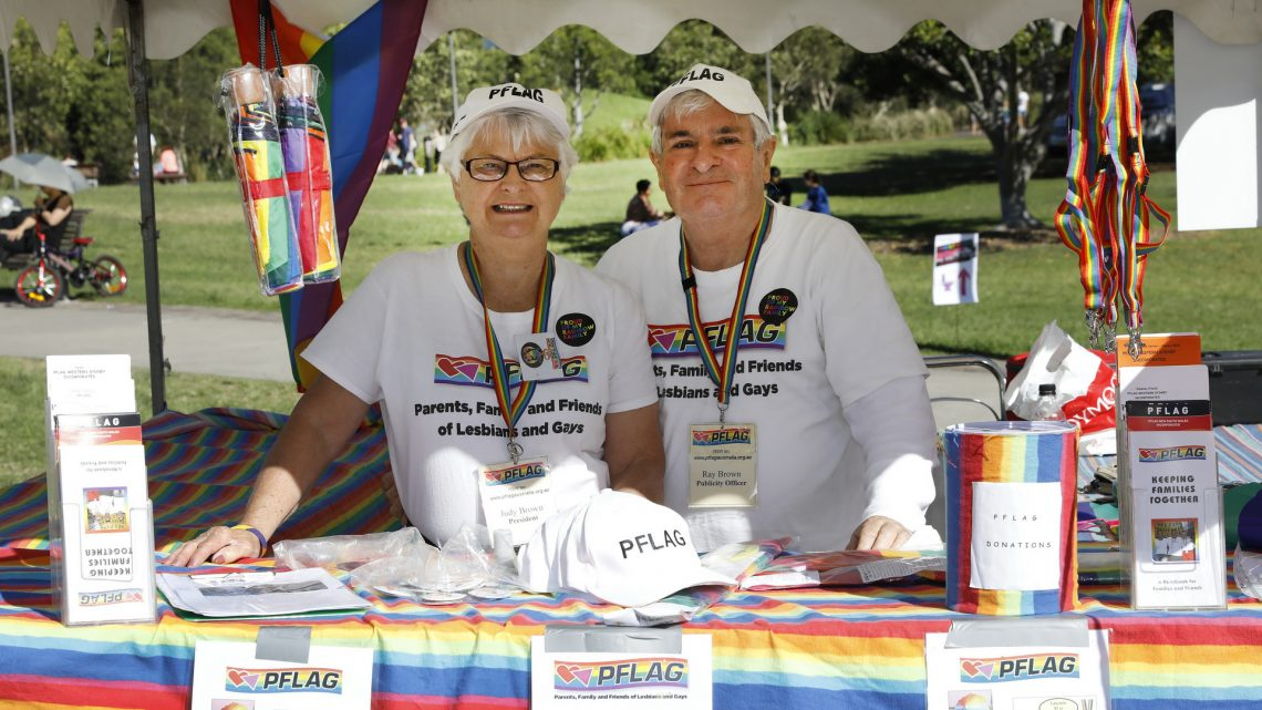 Judy and Ray Brown at the Rainbow Families International Family Equality Day. Photo courtesy of Ann-Maree Calilhanna, Star Observer