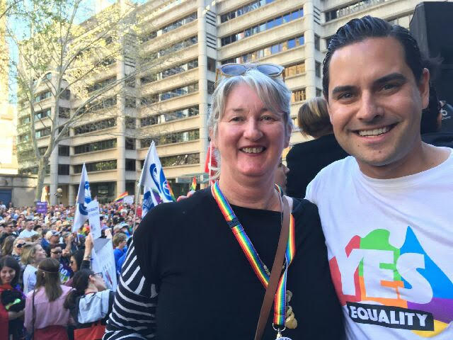 Michelle Lancey (PFLAG Hunter) with Alex Greemwich MP, Independent Member for Sydney