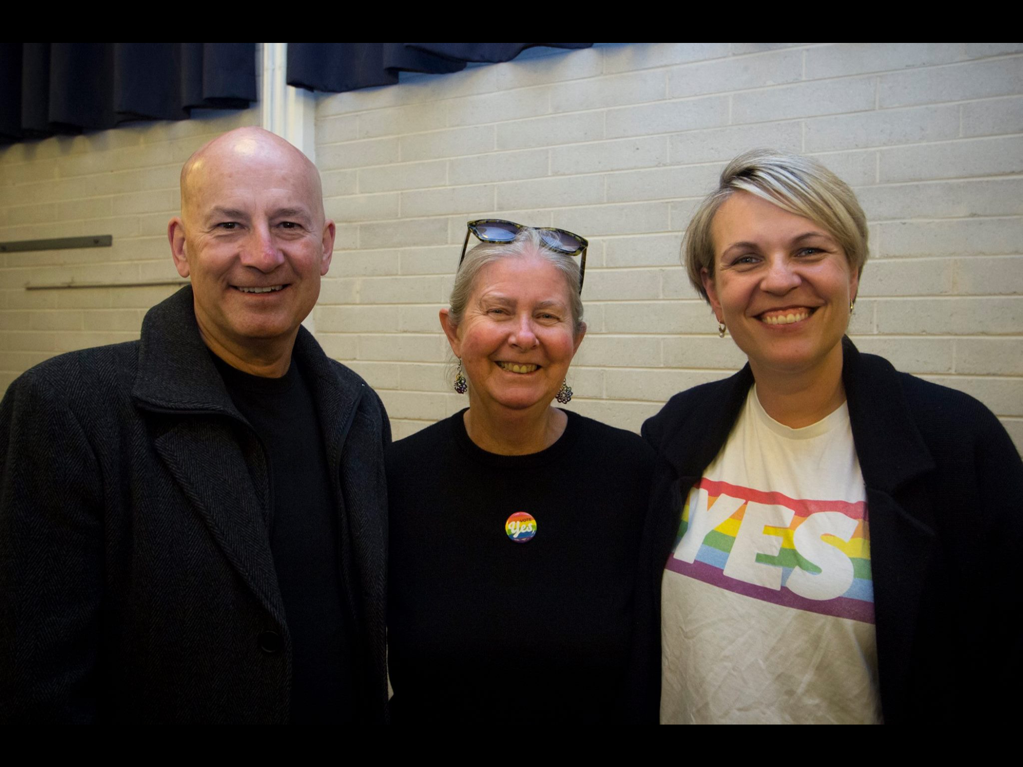 Vice President for PFLAG Ruth Green, with supporters of Marriage Equality John Robertson and Tanya Plibersek.