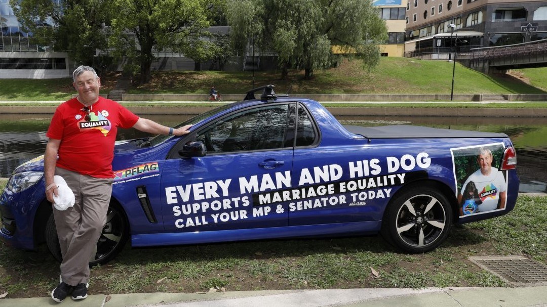 Geoff Thomas at the Parramatta Pride Picnic, with his famous Equality Ute (photo credit: Ann-Marie Calilhanna, Star Observer