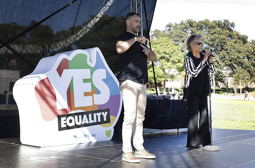 Neil Phipps providing Auslan interpretation at the Sydney equality vote announcement (Photo credit: Ann-Marie Calilhanna, Star Observer)