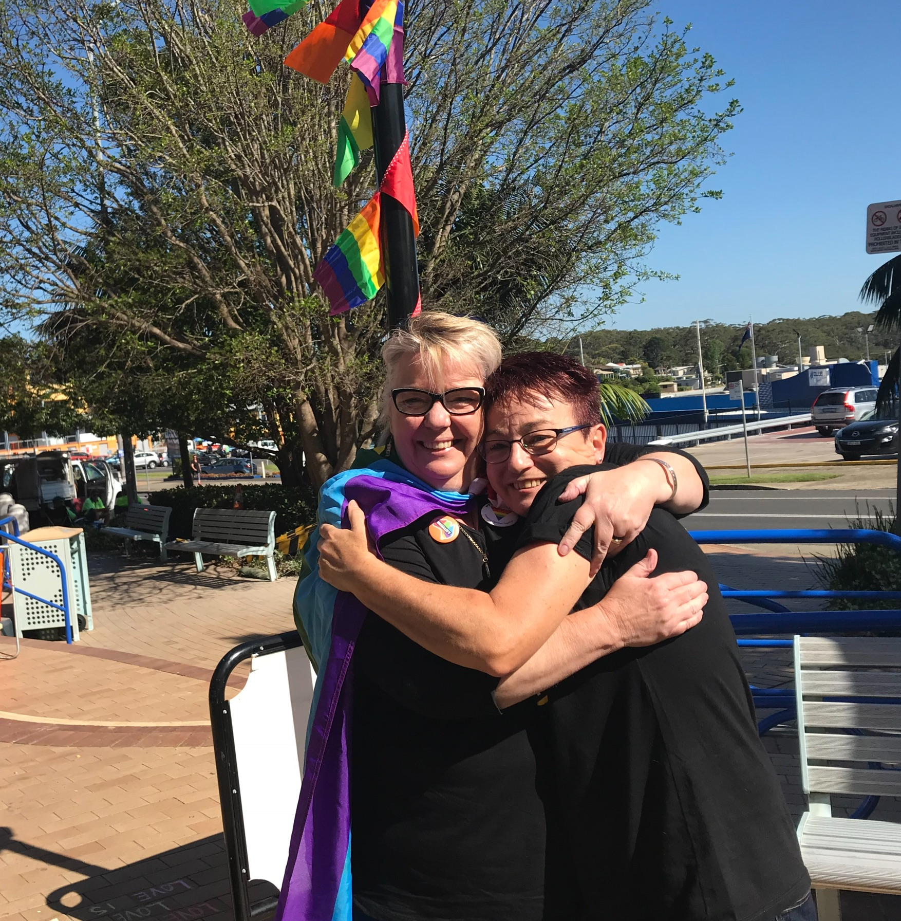 Photo: Noeline with Dawn Hawkins from Marriage Equality Gilmore when the YES numbers came in.
