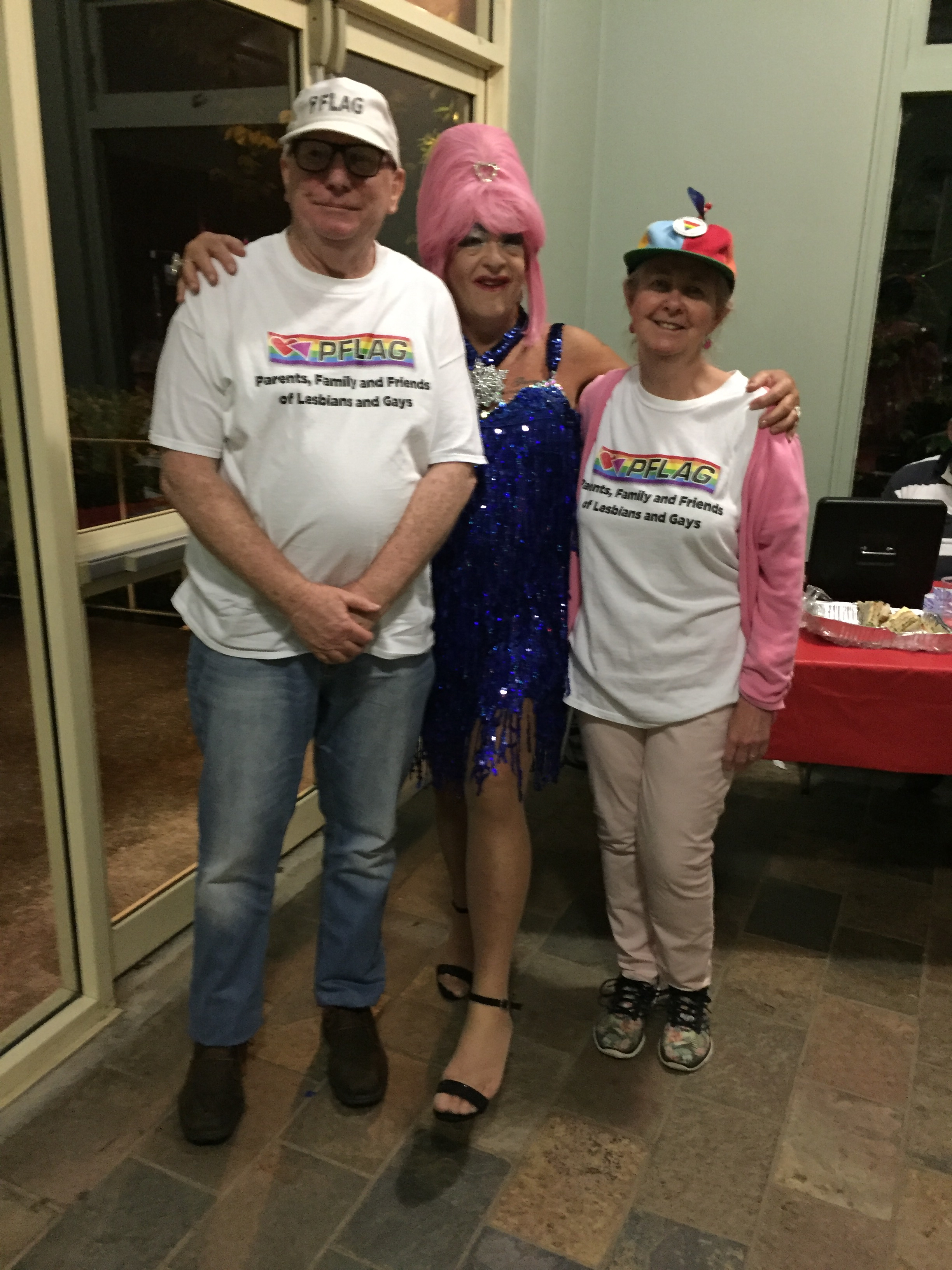Ruth and Ron with PFLAG's friend, Quiche Lorraine was taken at the Summertime Disco.