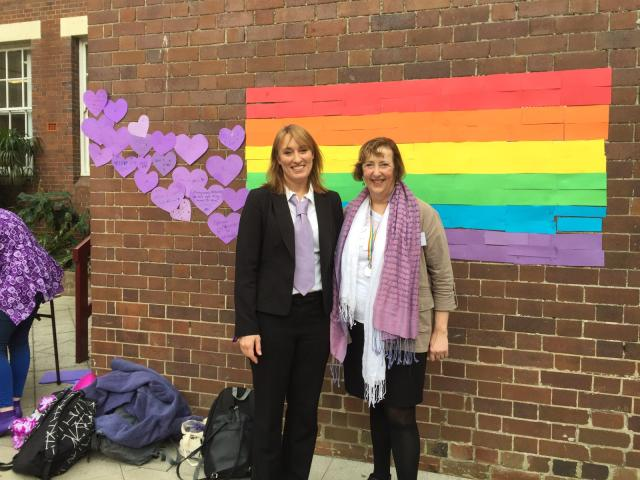 Photo of Maree Lau taken @ Fort Street High School with the Principal, Juliette on Wear It Purple Day