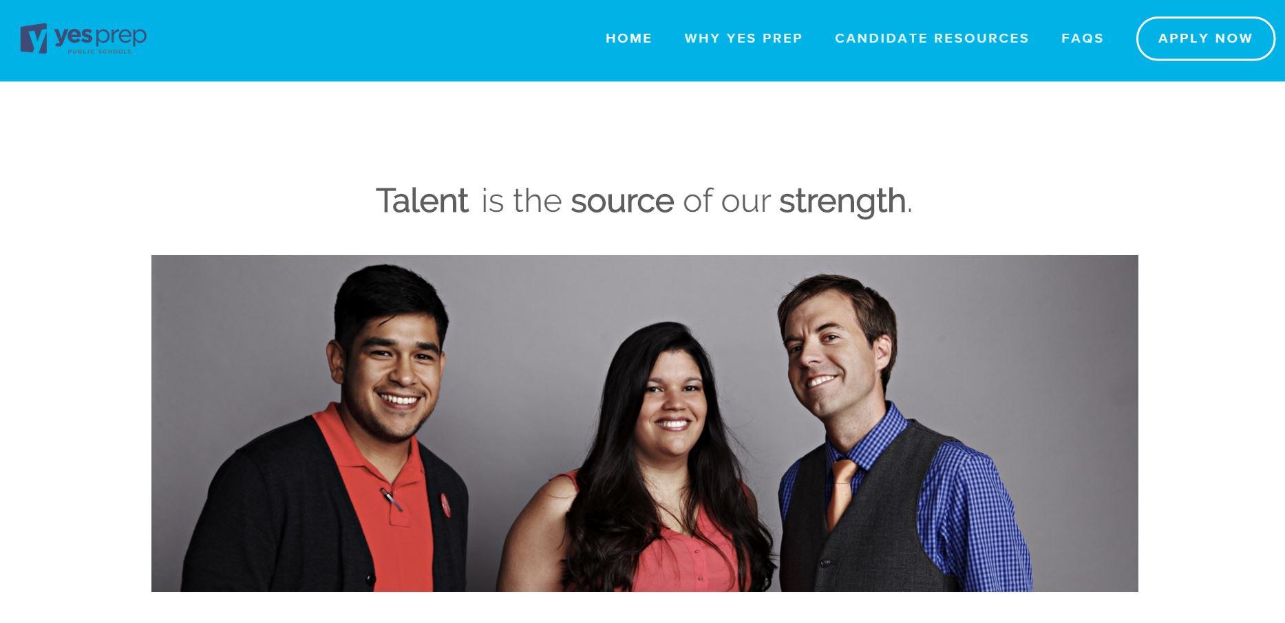 YES Prep Talent Website (2015)