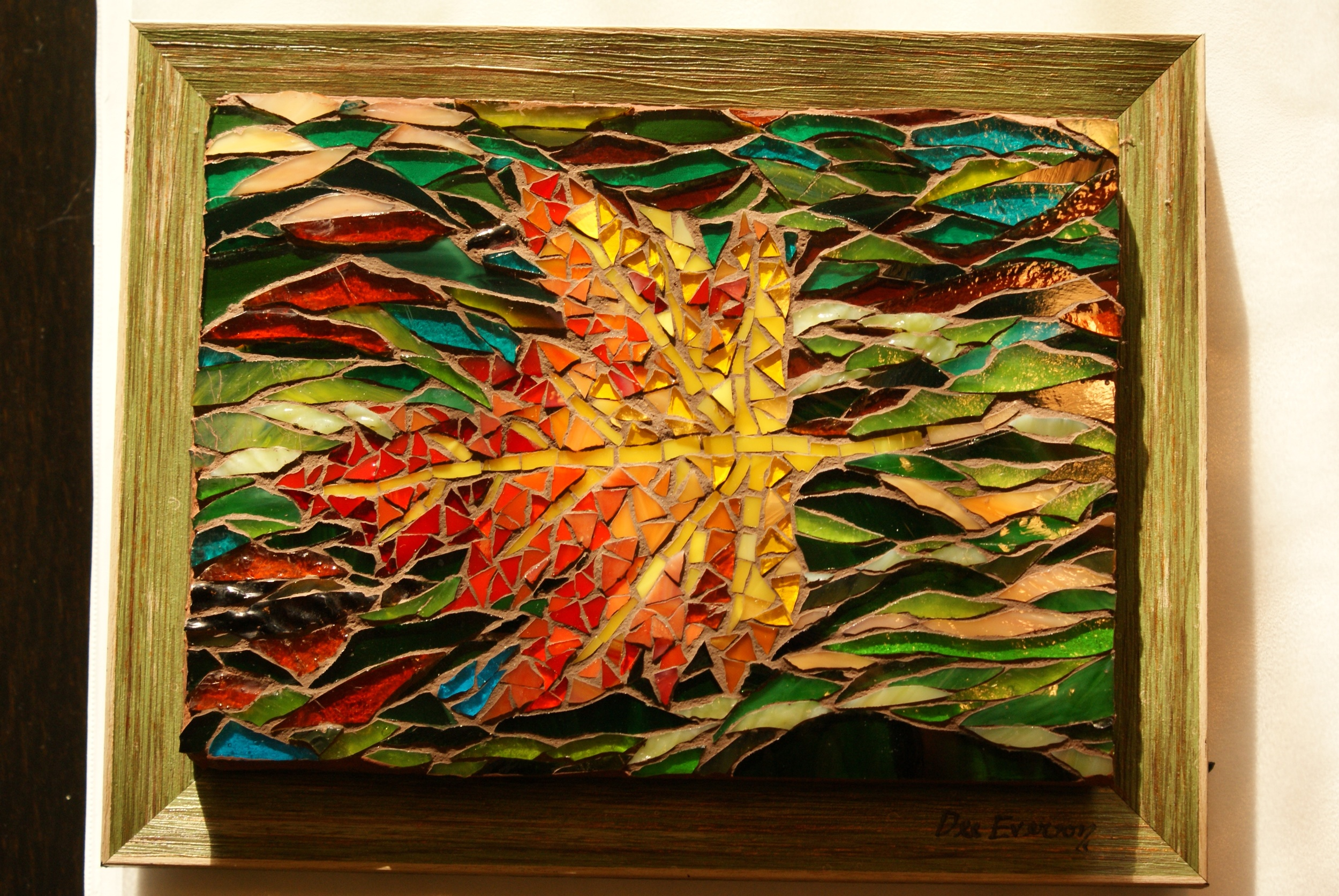 """Fall Leaf on Water"" Glass Mosaic"