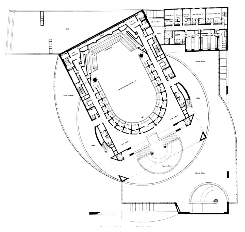 The overall plan of Meyerson-McDermott Concert Hall.Original plans by Artec, Inc.Plans Reference: (SIEBEIN,Gary W and Kinzey Jr, Bertram Y, 1999).