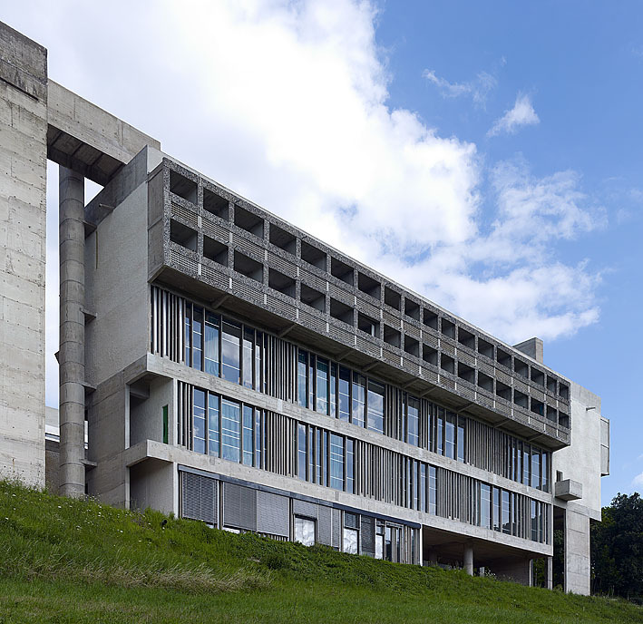 An image of Couvent de St. Maria la Tourette - West Façade Xenakis' famous 'Undulating glass panes' that is based on his earlier study 'the Modular.' Image Reference: (EMDEN,Cemal, 2012)