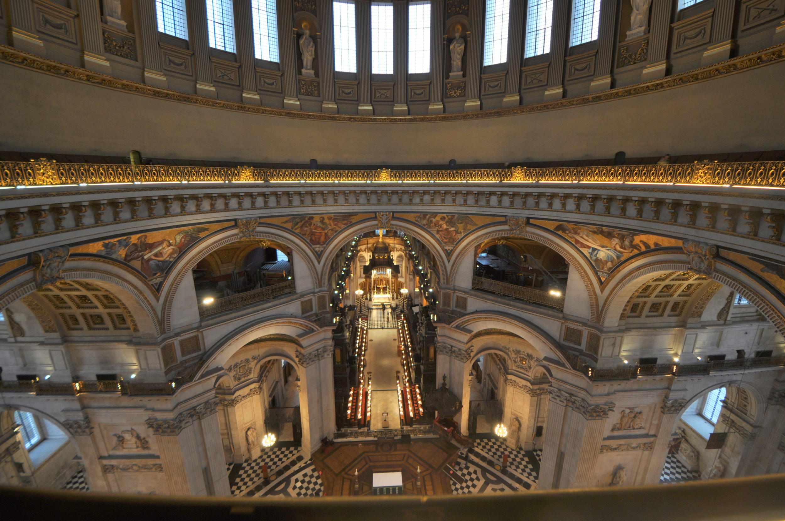 The view from the whispering gallery in St Paul's Cathedral in London. Image by Aiwok