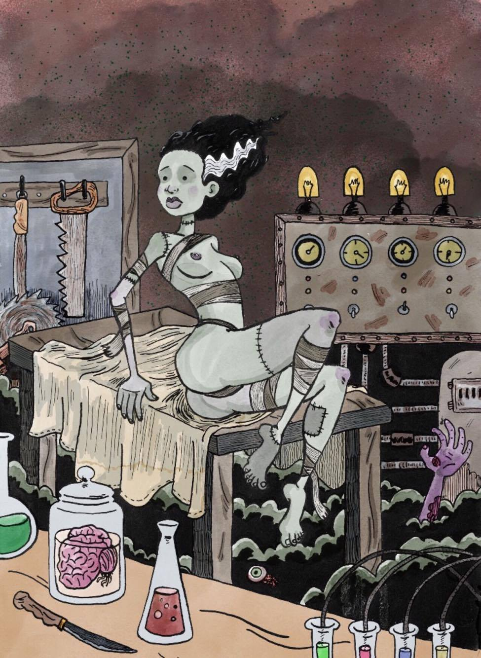 Bride of Frankenstein  Pen and ink w/ digital color