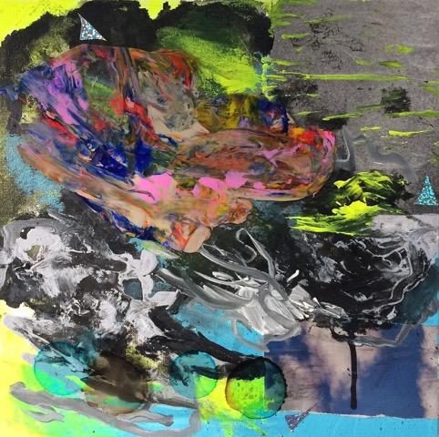 Acid Rain  Acrylic, collage, duralar and holographic film on canvas. 12x12