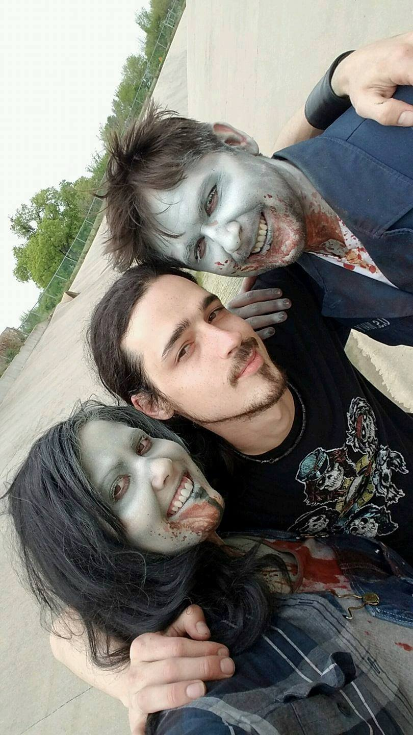 Director Cody Smith with a couple of zombie pals
