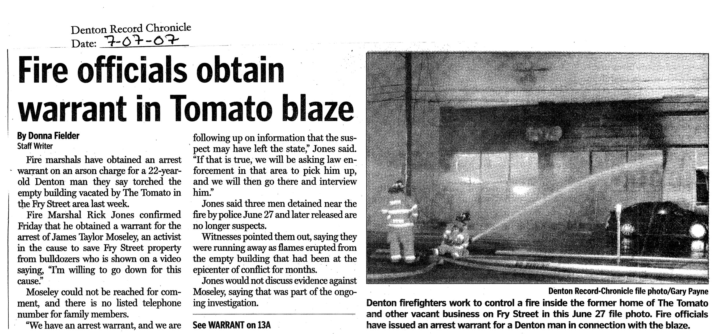 Newspaper clipping from the Denton Record-Chronicle.