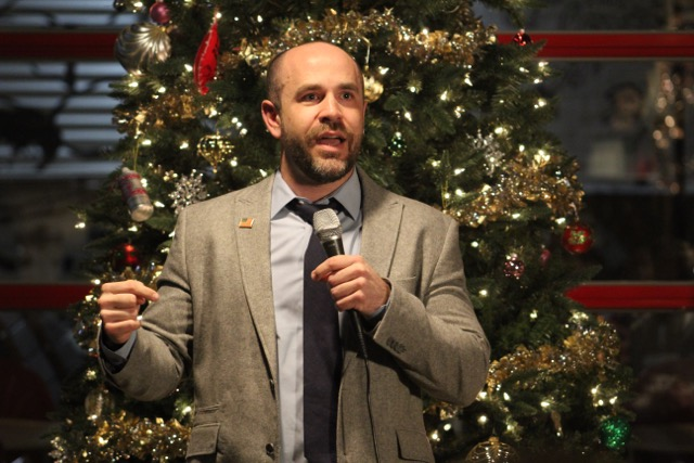 Will Fisher answering questions at a Town Hall meeting at Denton County Brewing Co. on Wednesday, Dec. 13.  Photo by Tanner Tovar