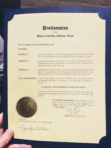 The proclamation issued by Mayor Chris Watts to the transgender community in Denton.