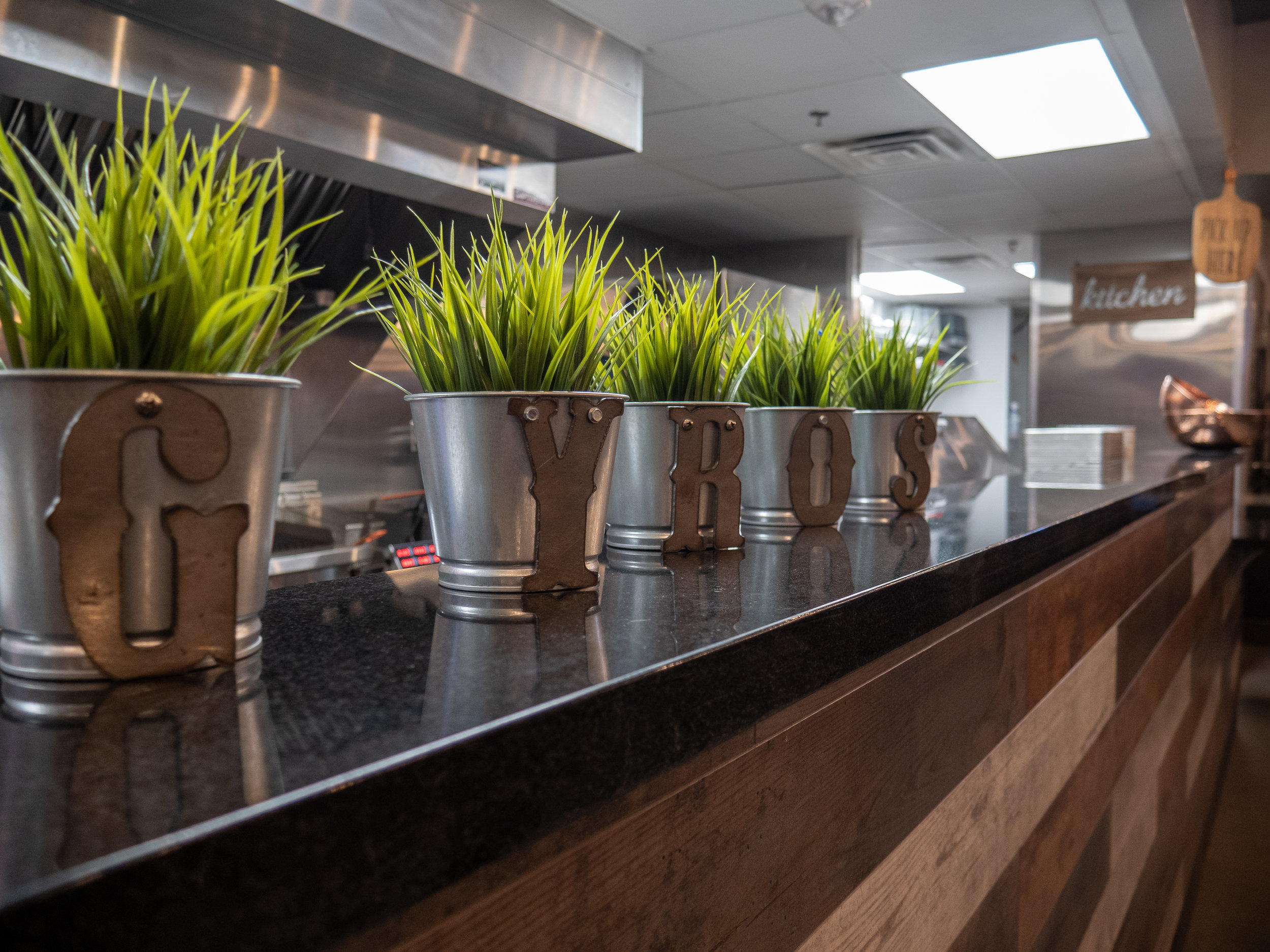 View of the Gyro 360 counter and five plants in metal planters on top of the counter.