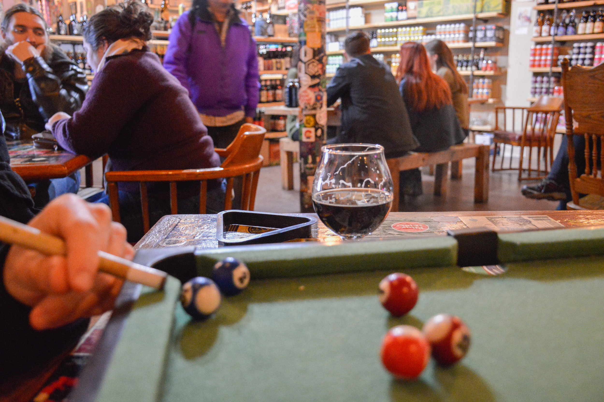 Playing some pool at The Bearded Monk's Stout and Shout IV