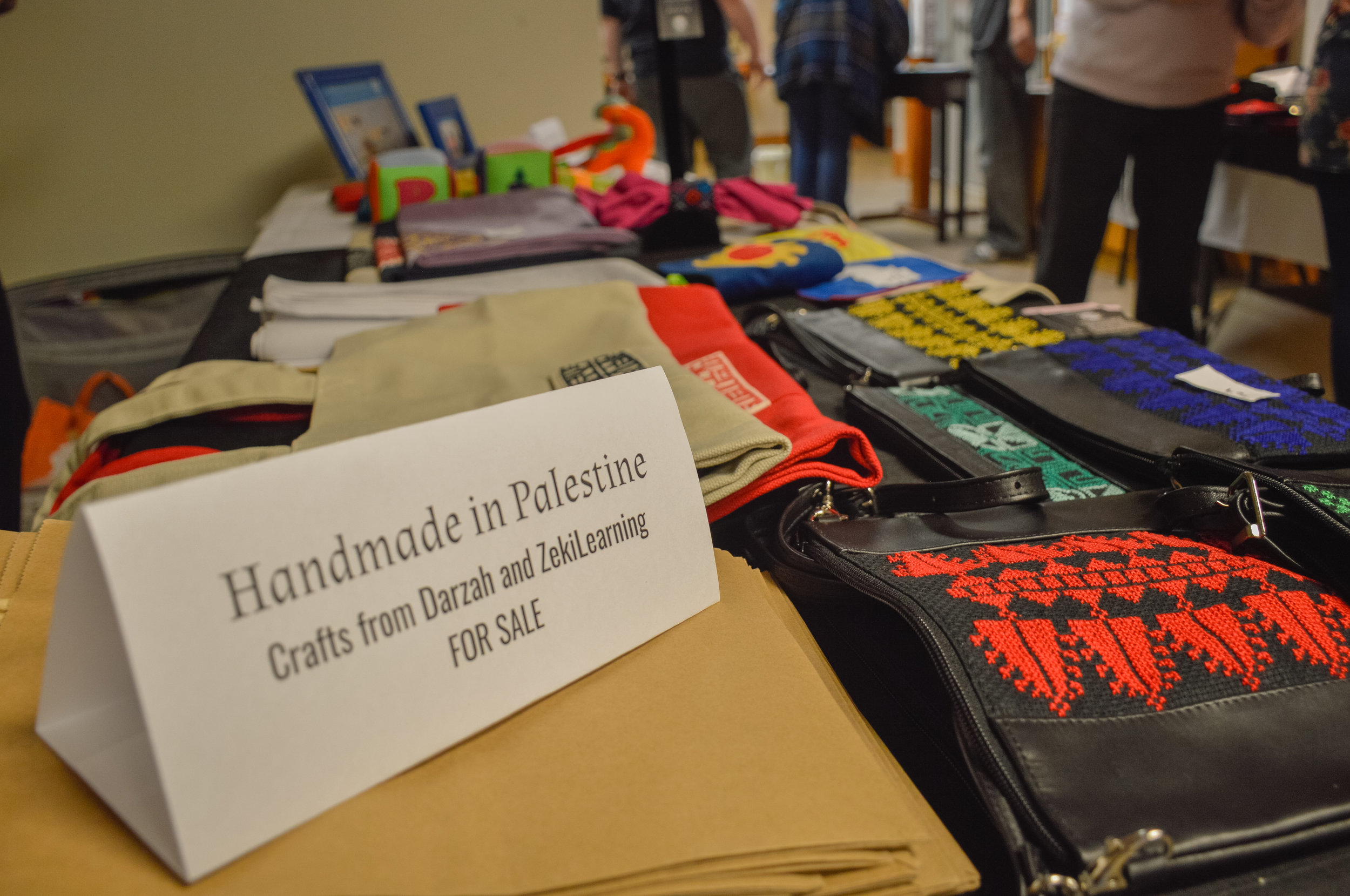 Handmade crafts and artifacts found at Broken Film Festival. Handmade in Palestine.