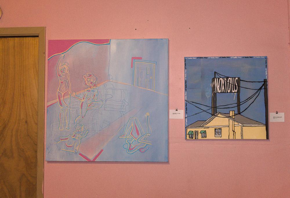 Left: Sarah Wuenscher - oil on canvas. Right: Max Raign - oil and spray paint on canvas