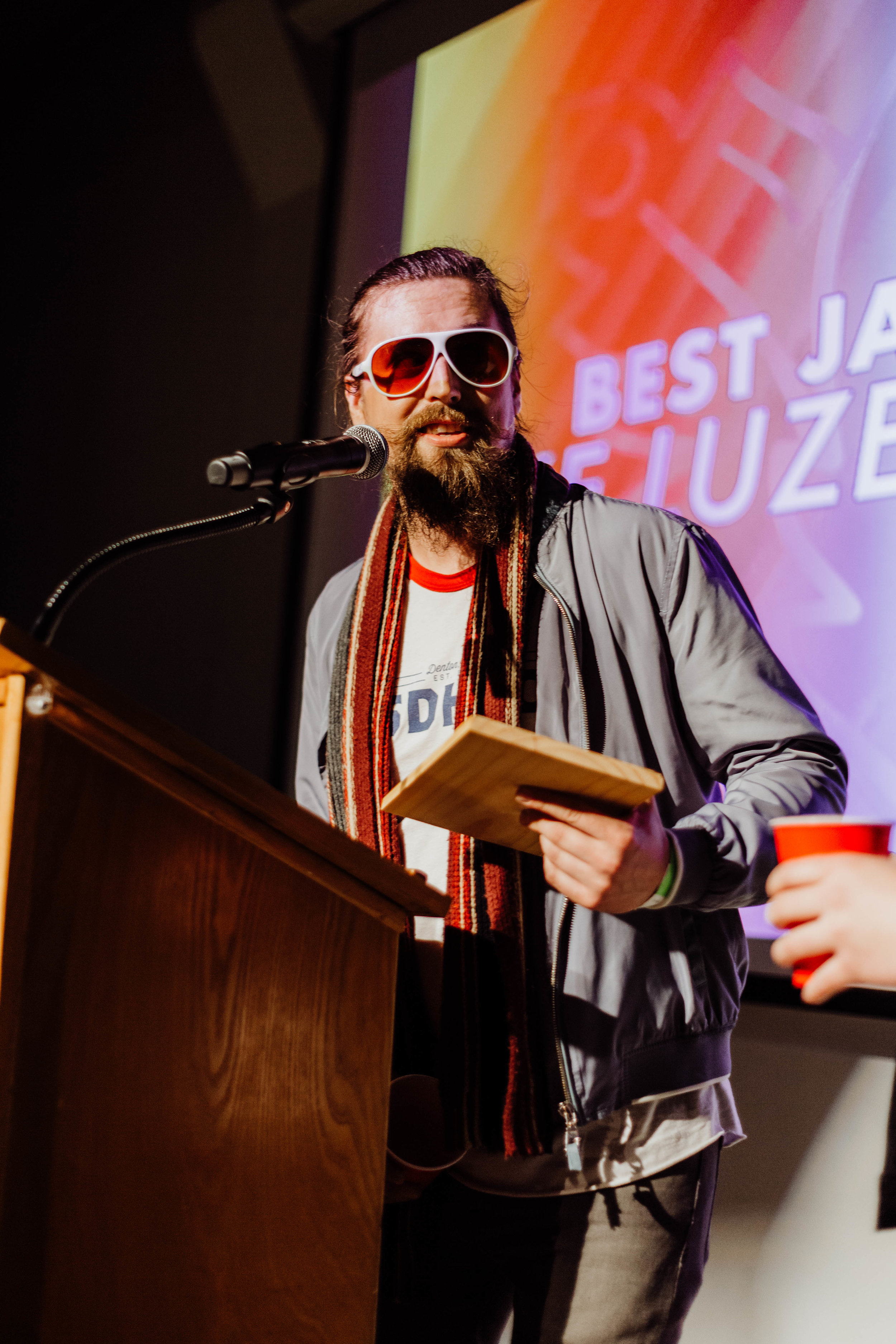Mike Luzecky accepting his award for Best Jazz Act