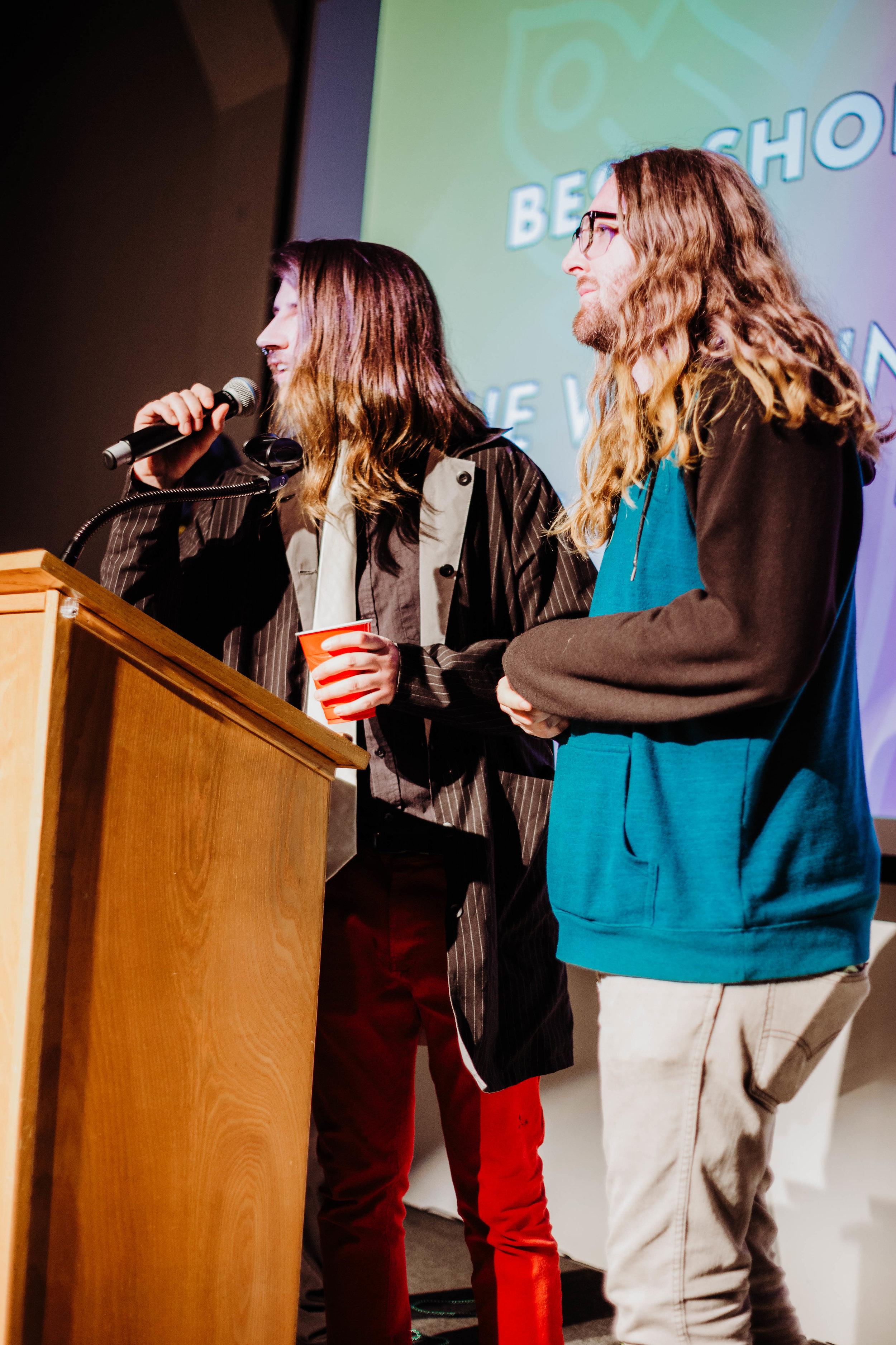 Garrett Smith and Zachariah Walker accepting the award for Best Short Film.