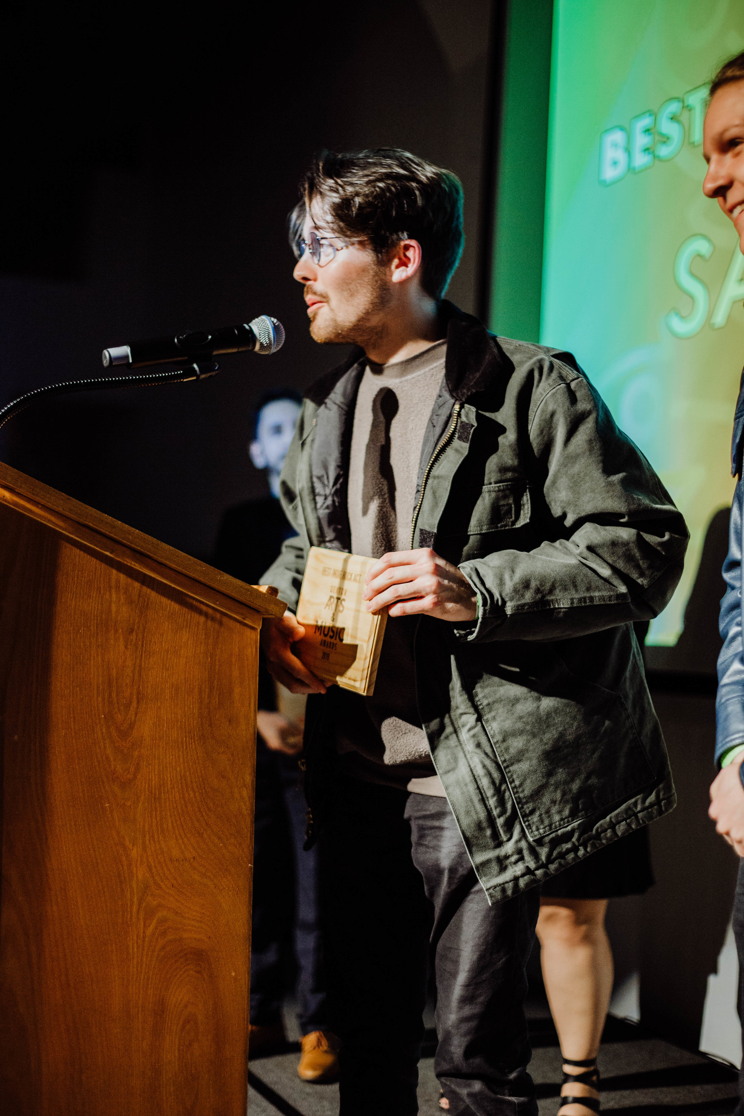 Colin Wheeler and Sad Cops accepting their award for Best Indie Band - one of four awards they took home.