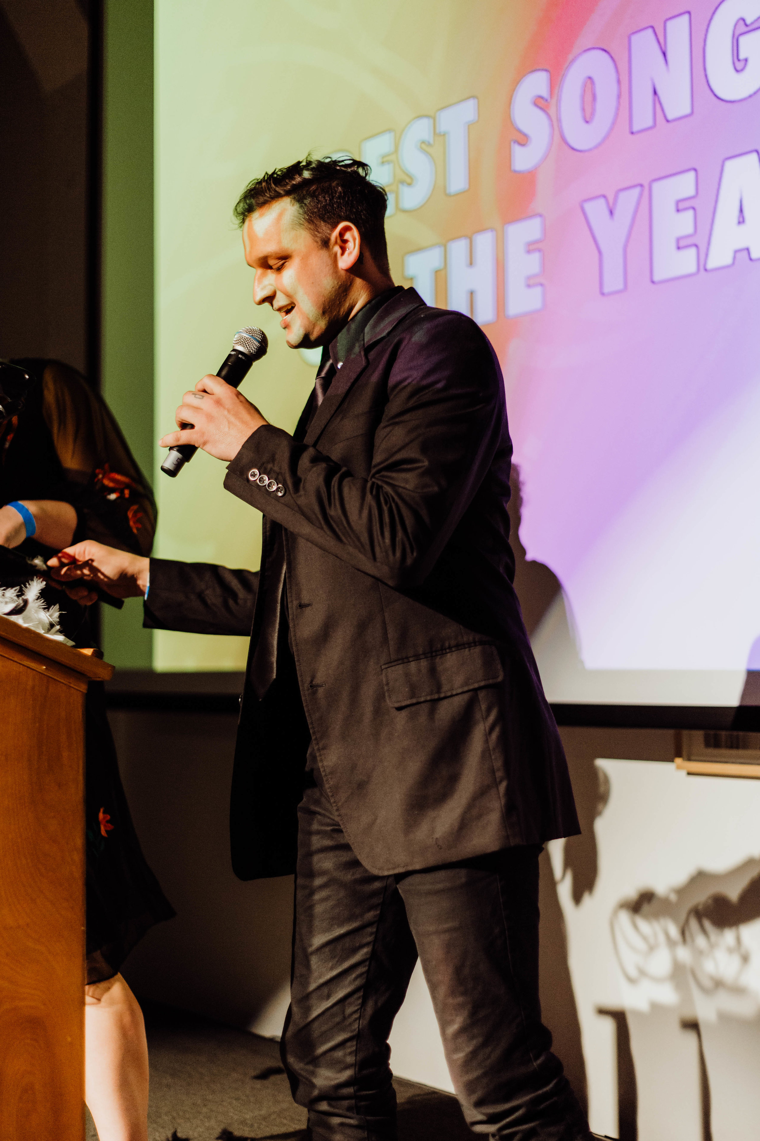 George Ferrie presenting the award for Best Song of the Year.
