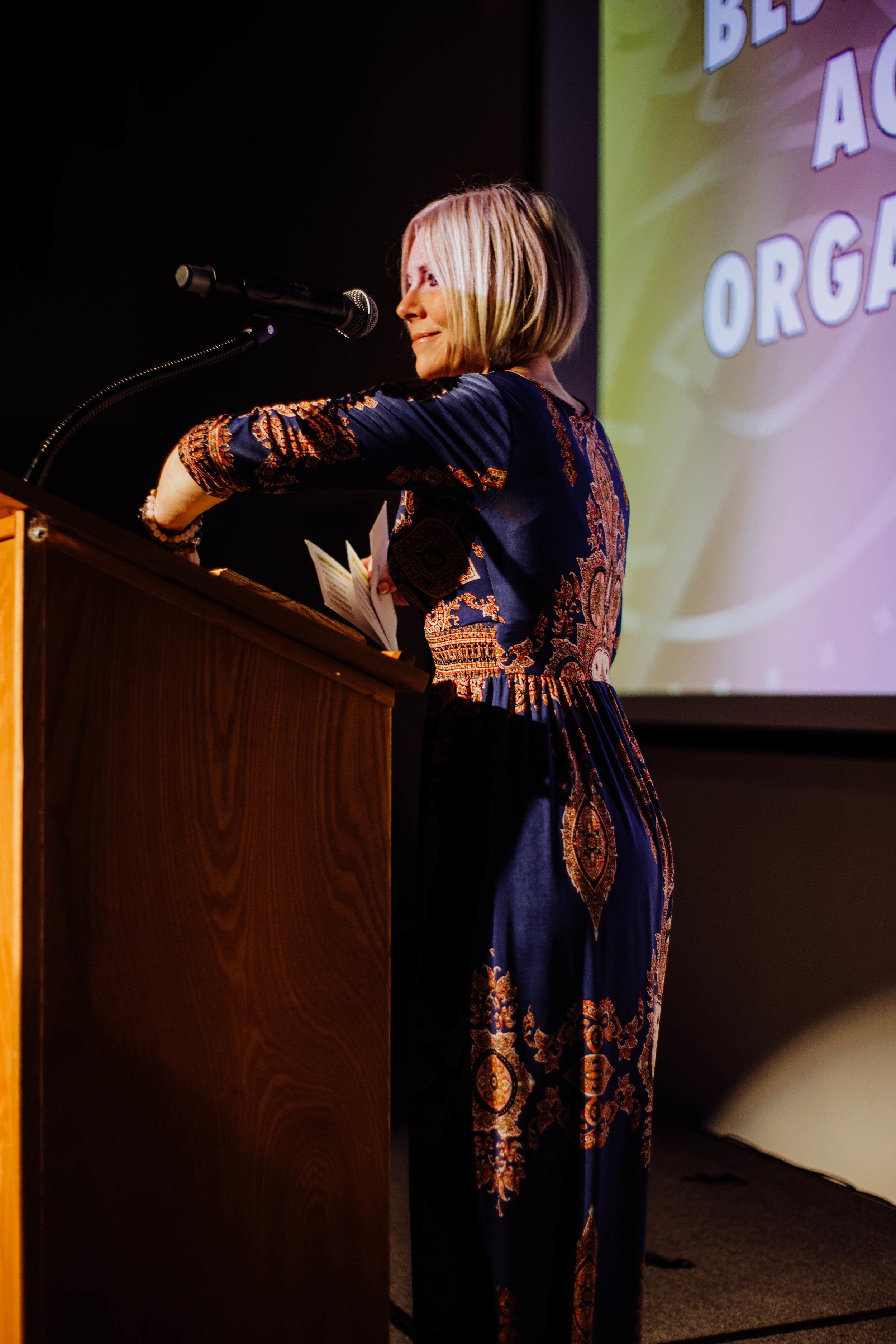 Keely Briggs presenting awards.