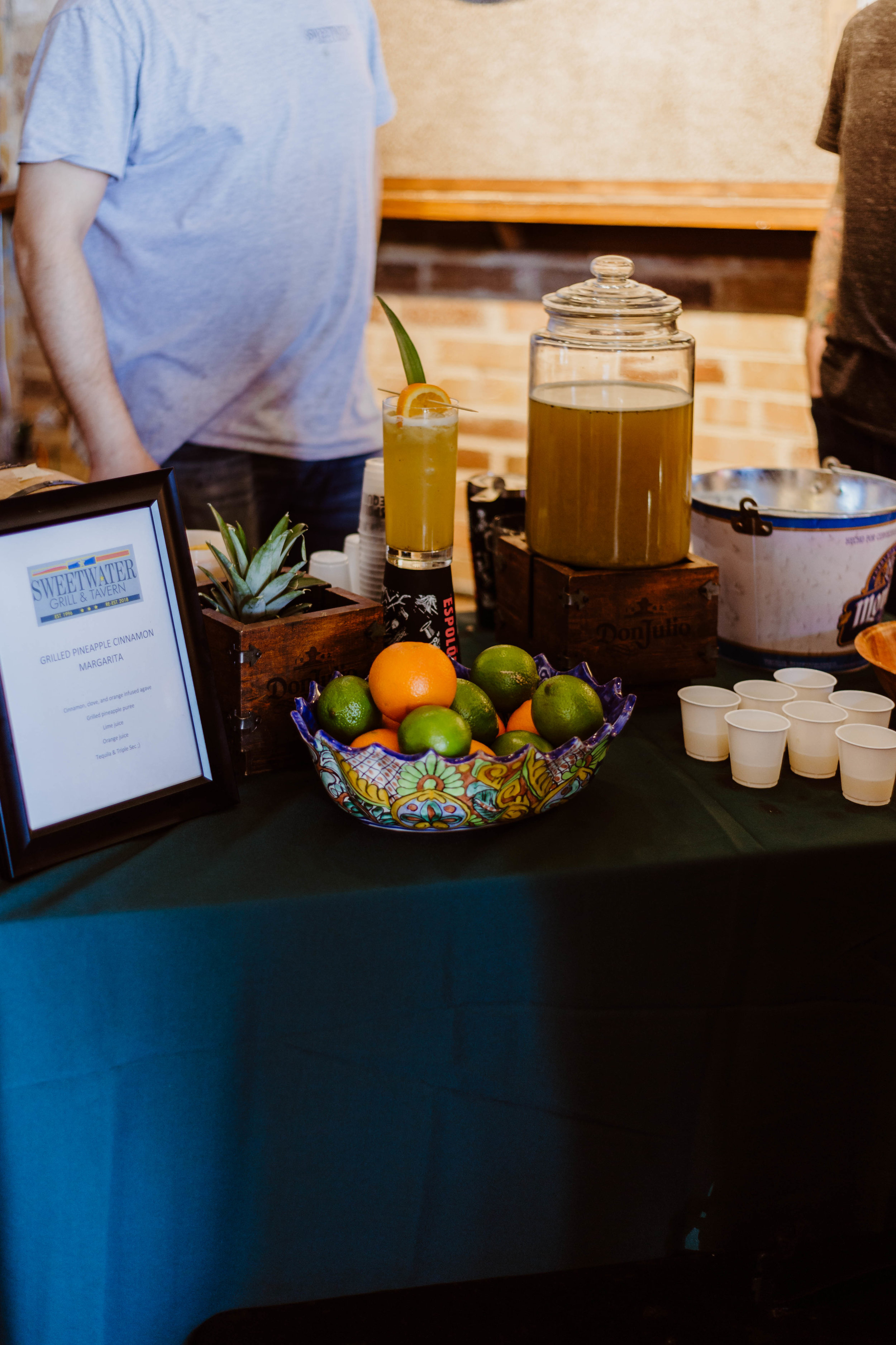 Sweetwater's display for their very own Grilled Pineapple Cinnamon Margarita.