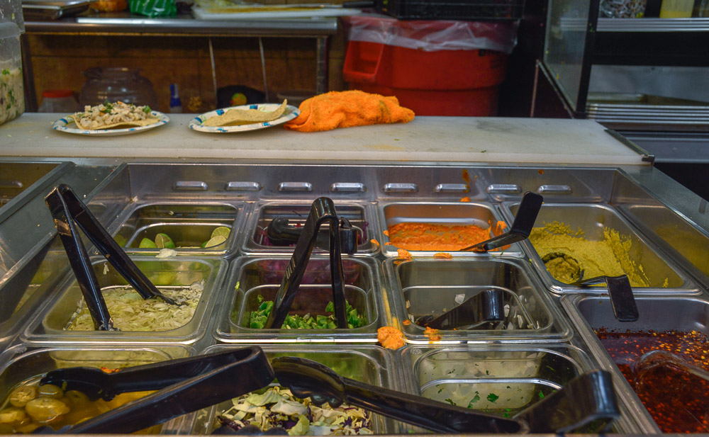 'Salsa' bar - very traditional in Mexico, a variety of colorful salsas and toppings for your meals.