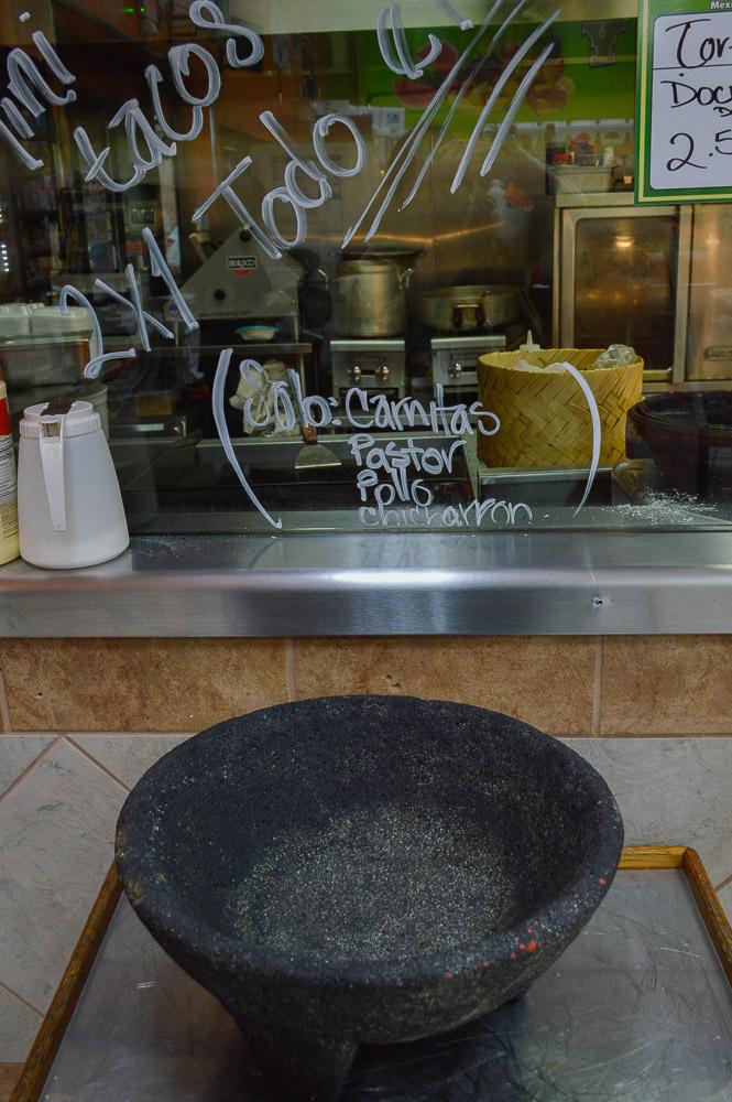 Traditional meat menu - carnitas, pastor, chicharron - and a molcajete - where you mix avocado, salsa, etc.