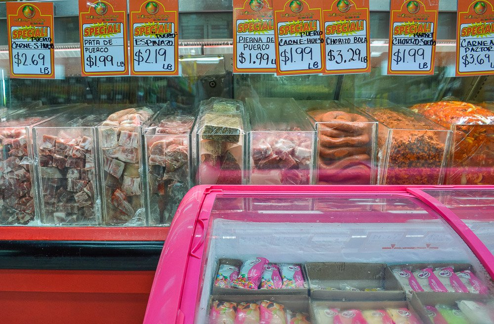 A variety of meat and 'paletas' - this is what you would see in a typical deli in Mexico.