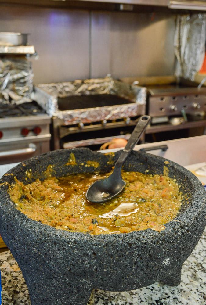A molcajete for self-serve salsa when you order your tortas, tacos, etc. at Estrella.
