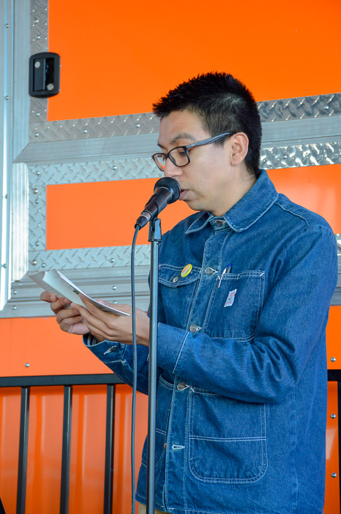 Alfredo Aguilar reading for the event.