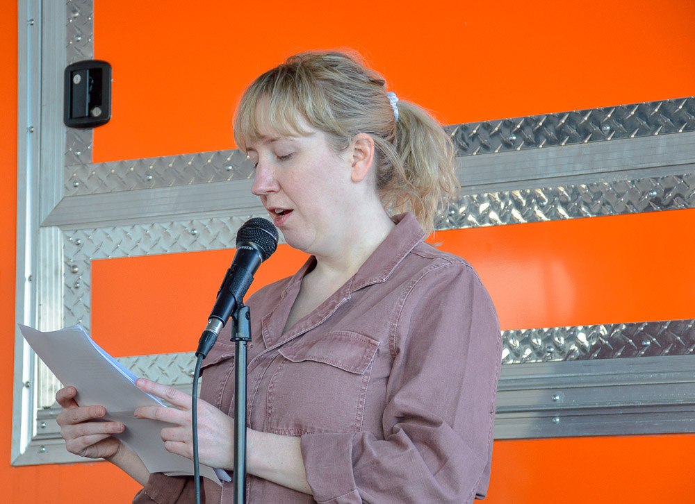 Kimberly Lambright reading for the event.
